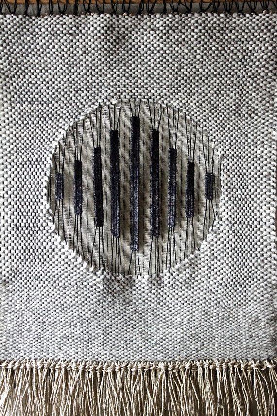 Woven Wall Hanging: Tapestry Weaving in Black by BookMeatStudio