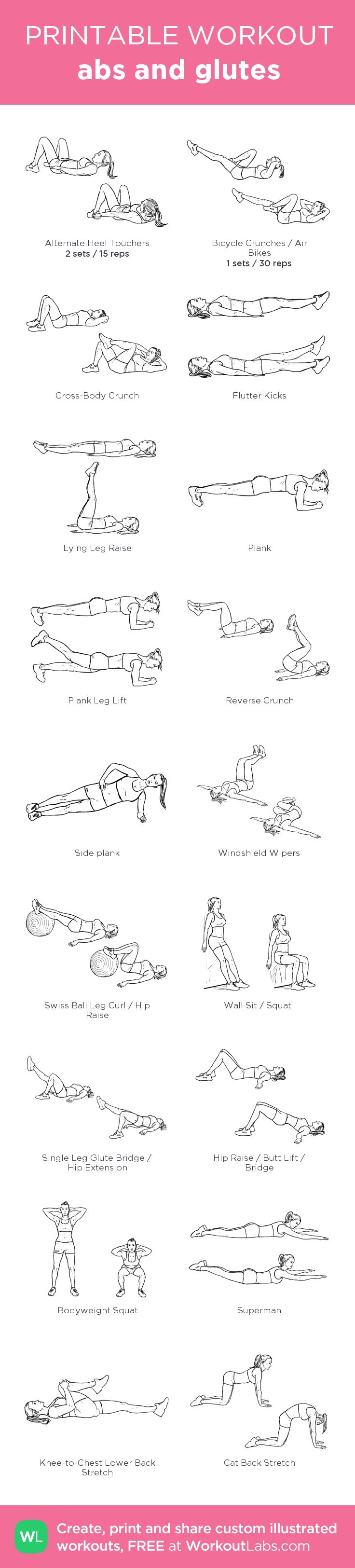 abs and glutes:my custom printable workout by @WorkoutLabs #workoutlabs #customworkout
