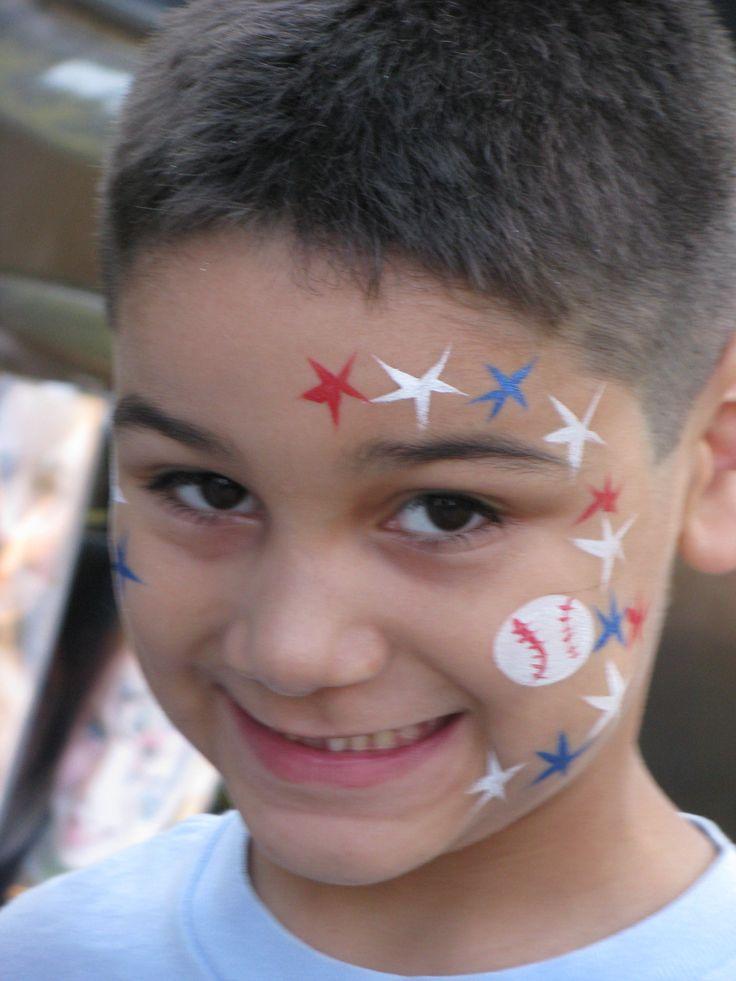 Sporty Baseball Kids Facepaint... Do orange and black stars for giants!