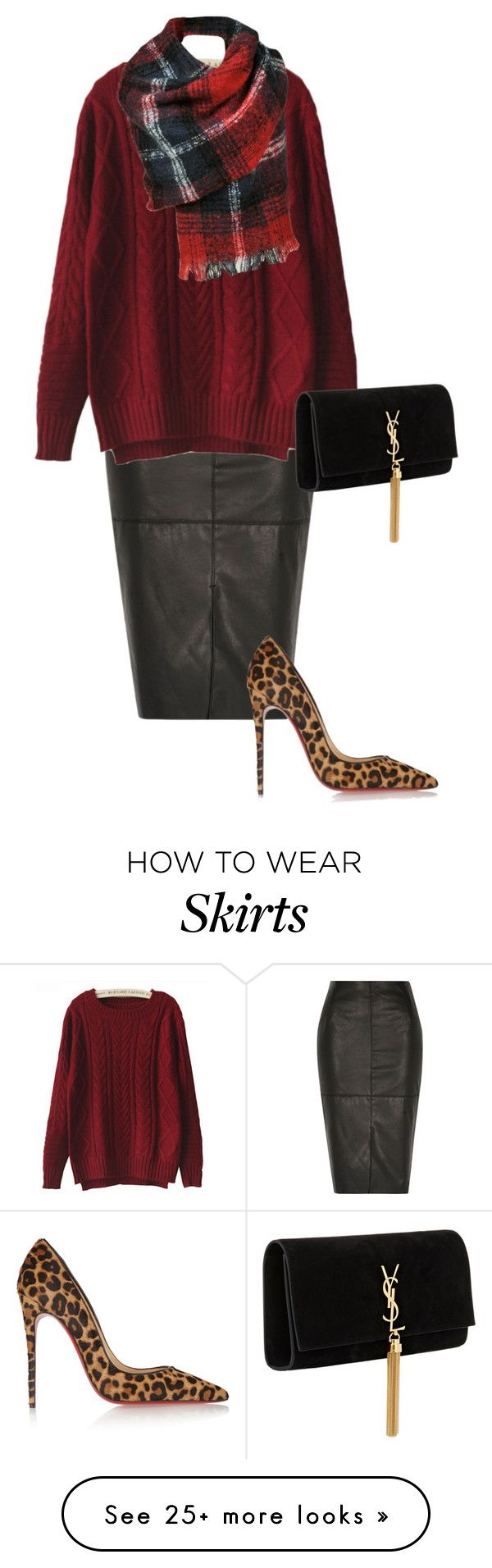 """""""leather skirt"""" by part-time-fashionista on Polyvore featuring River Island, Chicnova Fashion, Christian Louboutin, Black Rivet and Yves Saint Laurent"""