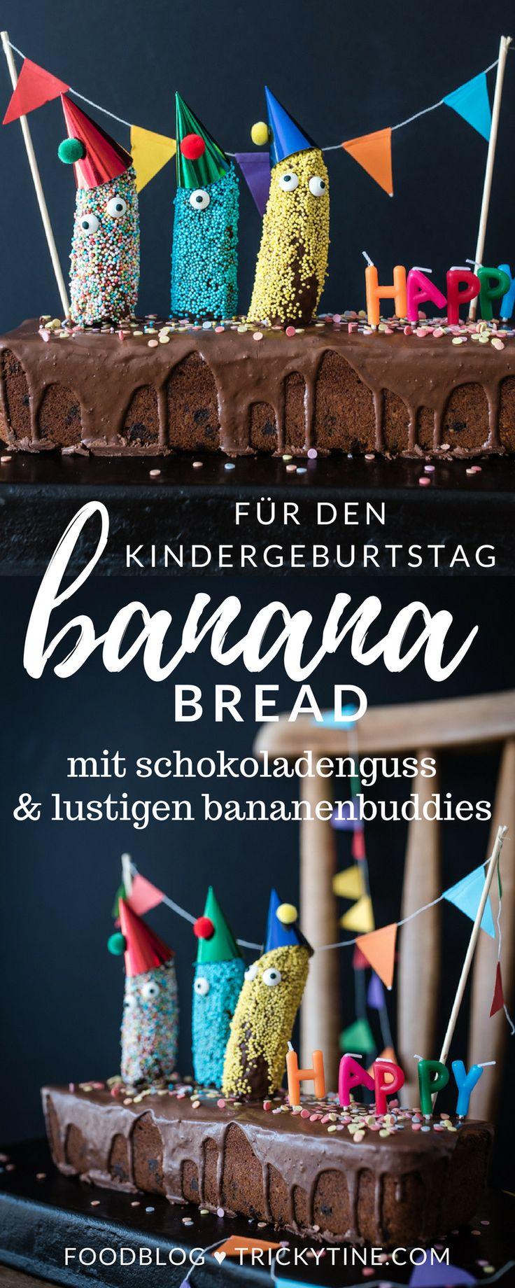 super köstliches banana bread mit schokolade & der lustigen bananenpartycrew - super für den nächsten kindergeburtstag ♥ trickytine.com