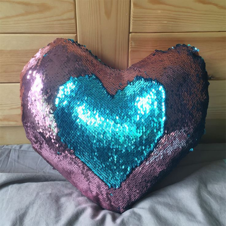 New Mermaid Sequin pillow magical color changing reversible sequin throw Heart pillow Cushion Decorative modens Pillowcase #Affiliate