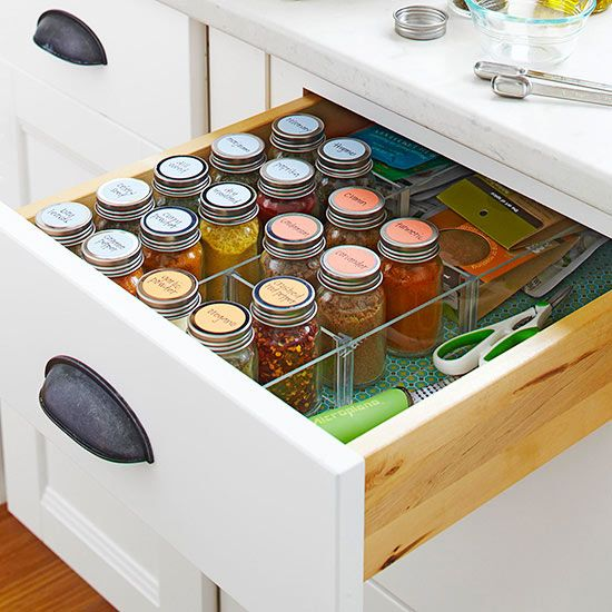 Spices Label the lids on your spice jars and store them in a drawer or basket. Use a desk tray intended for office supplies to stand everything upright./