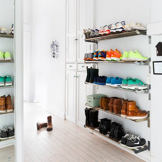 Creative shoe storage ideas for the entryway bedroom and Rooms without closets creative