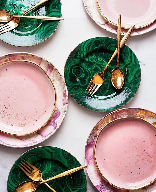 Heavenly! Emerald green, pastel pink, and gold Ceramic and porcelain plates