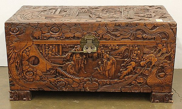 Chinese Carved Camphor Trunk 34 5 Quot W Camphor Chests