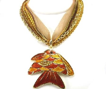Novel Autumn Toned Enamel Fish with Ribbon and Chain Necklace. Great for casual wear
