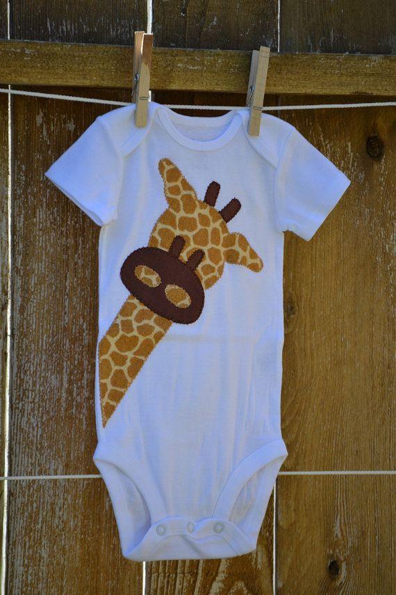 Peek A Boo Giraffe Applique Onesie by AddieRaesCloset on Etsy, $15.00
