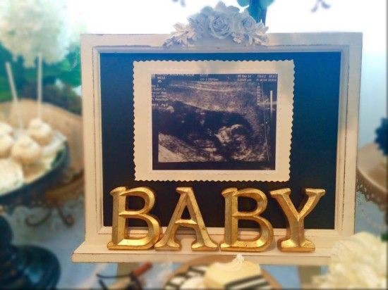 Black and White Shabby Chic Baby Shower monogram