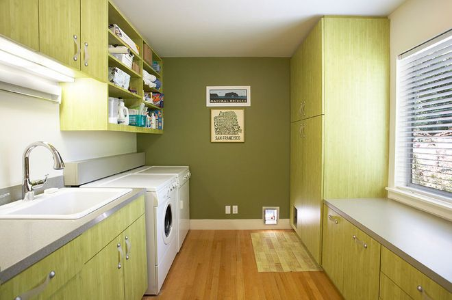 [CasaGiardino]  ♡  Contemporary Laundry Room with Cat access & hidden kitty-litter tray