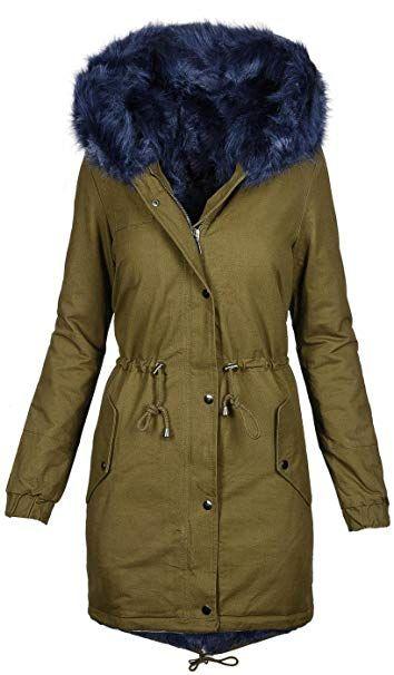 Warme Damen Winter Jacke Winterjacke Parka Teddyfell gefüttert Mantel B432   B432-Grün-Blau e21425123e