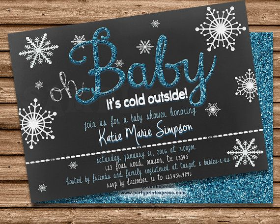 Get the magical Oh Baby Its Cold Outside winter Baby Shower Invitations you've been looking for, for your winter baby shower. This snowflake