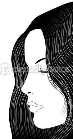 Длинные черные волосы девушка с закрытыми глазами профиль