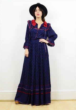 90s+navy+blue+floral+boho+prairie+style+maxi+dress