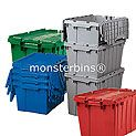 Attached Lid Containers.  These heavy duty bins have hinged lids attached.  Can nest inside of each other or be stacked.  Many colors available!