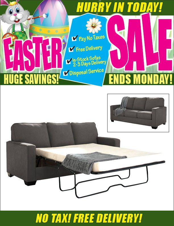 Easter Sale on now! Shelby Double Memory Foam Sofa Bed only $999 including tax & free local delivery!