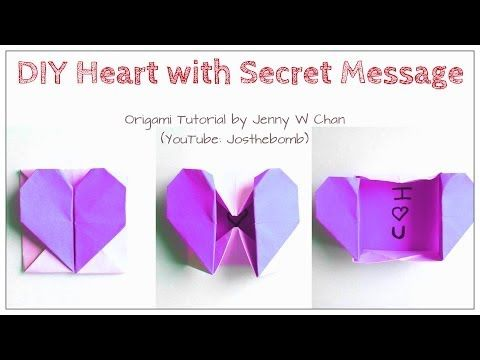 DIY Origami Heart Box / Envelope, Secret Message - Valentine's Day Crafts- Pop-Up Heart - Kids,Easy - YouTube