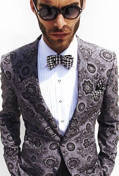 Pattern Jacket + Checkered Tie