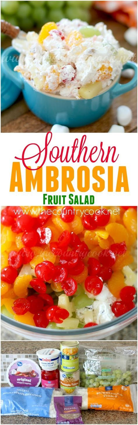 Southern Ambrosia Fruit Salad recipe from The Country Cook