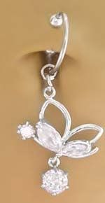 Fake Belly Navel Non Clip on Piercing Cz Clear Side Butterfly gem Dangle Ring playful piercings. $9.50