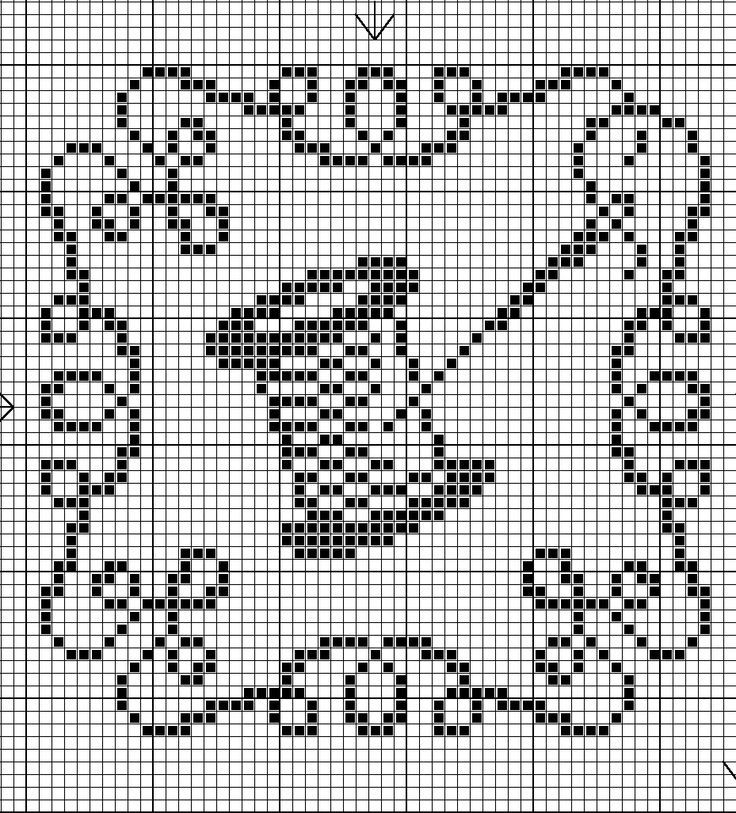 Cross-stitch biscornu ... no color chart available, just use the pattern chart as your color guide.. or choose your own colors...: