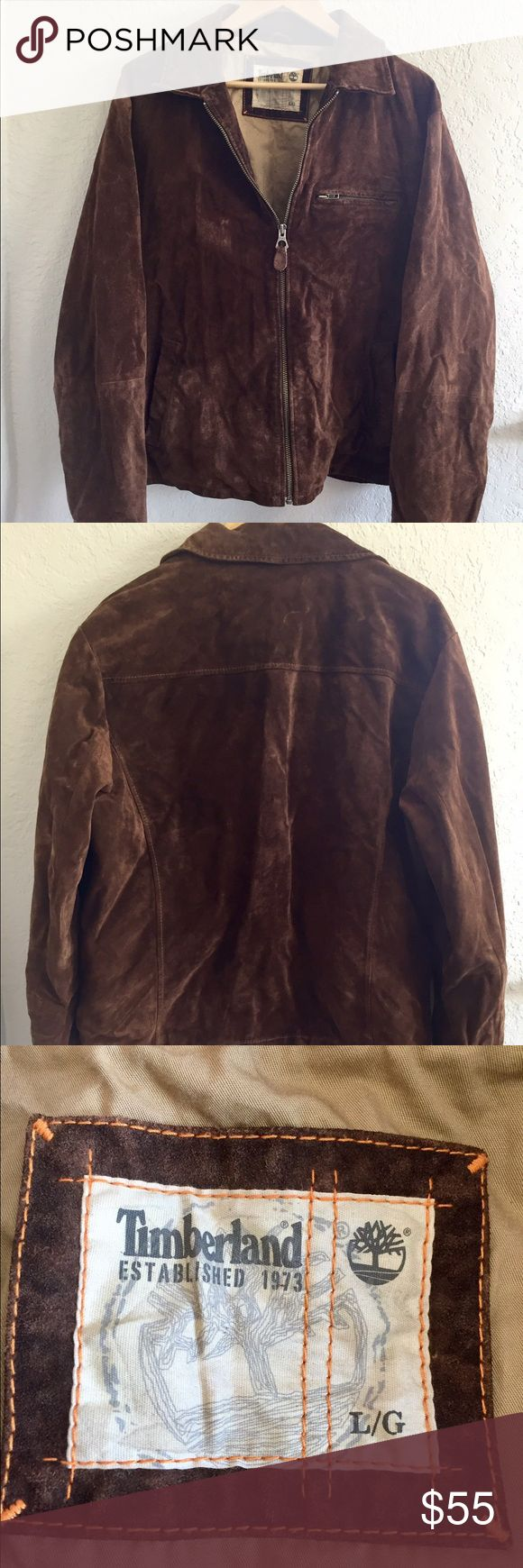 Timberland Leather Jacket Gently used Timberland leather jacket. Pockets inside and outside. Very little wear on the outside but there are some really small stains inside, smaller than the size of a dime. Not noticeable since they are on the inside. Other than that leather in in good condition. It is fully lined. Size Large. Timberland Jackets & Coats