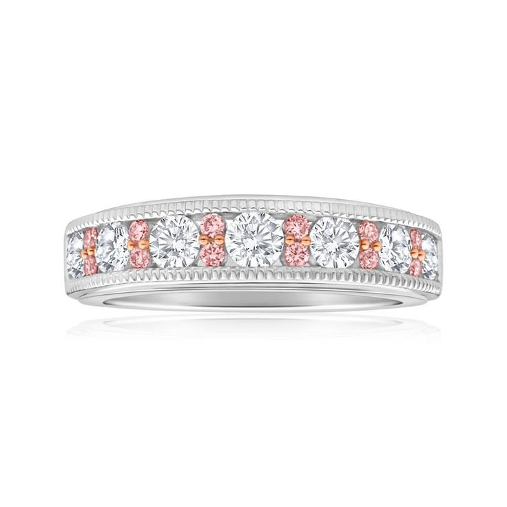 Super pretty wedding band eternity style with decorative edges. Pink and White Diamond in 18ct Gold