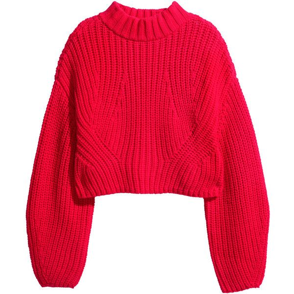 H&M Cropped jumper ($26) ❤ liked on Polyvore featuring tops, sweaters, jumpers, shirts, red, long sleeve tops, long red shirt, crop shirt, red shirt and long sleeve jumper