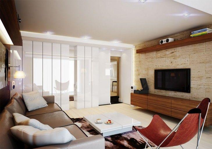 Projekt wnętrz apartamentu w Pruszkowie w nowoczesnym stylu -Tissu. Aranżacja wnętrza 90m2 mieszkania . Klasyka designu łączy się  z minimalizmem. Ciepła ale przestrzenna kompozycja salonu. http://www.tissu.com.pl/zdjecia/228