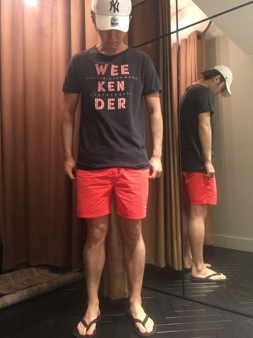 海へ遊びに行くコーディネートにしてみました♫♫スコッチ&ソーダの新作水着に、Tシャツを合わせました!