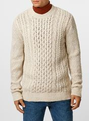 Cream Wool Blend Cable Knit Jumper