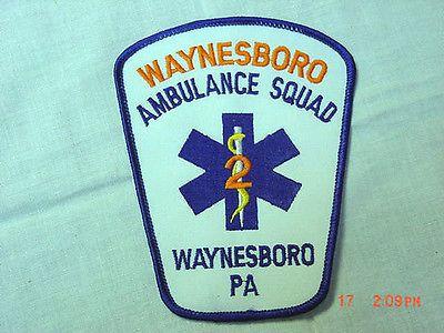WAYNESBORO-AMBULANCE-SQUAD-2-PATCH-BADGE-VERY-GOOD-COND-NEVER-USED
