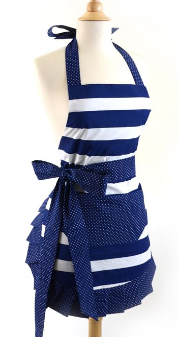 Old Fashioned Aprons, Oven Mitts and Gloves for Sale: Flirty Aprons Women's Original Nautical Navy $34.95 #apron #vintage #retro
