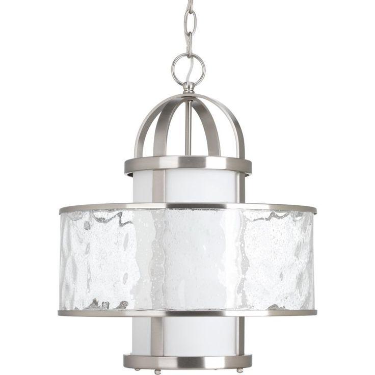 "Progress Lighting P5310 Bay Court Single Light 15"" Pendant with Distressed Clear Brushed Nickel Indoor Lighting Pendants"
