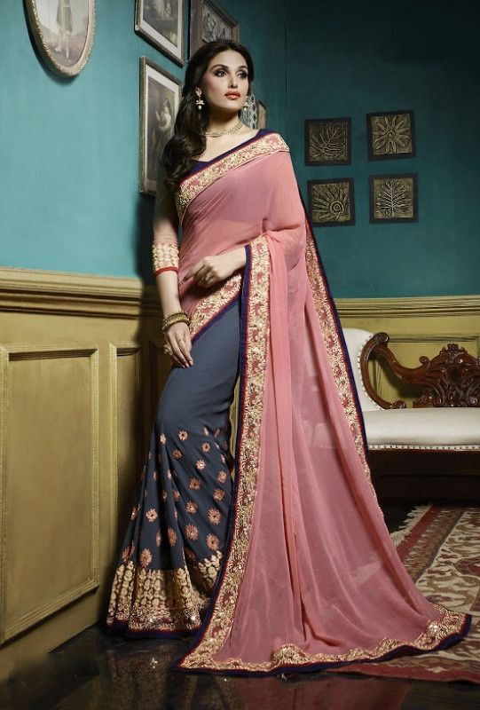 Grey and pink designer party wear saree with blouse