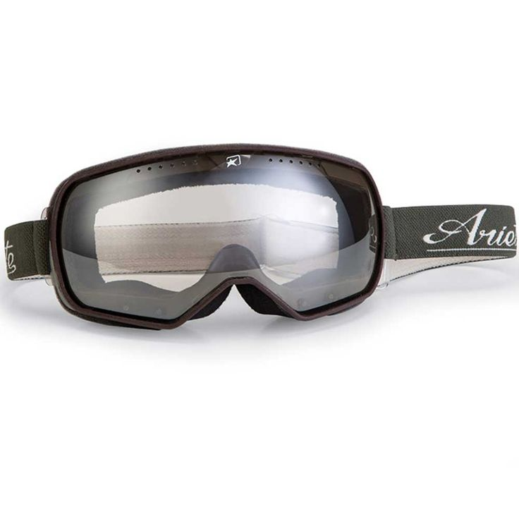 """ARIETE """"Feather"""" in black & brown. Great looking retro motorcycle goggles with spherical yet distortion-free photochromic lens. Total weight only 70 grams!"""