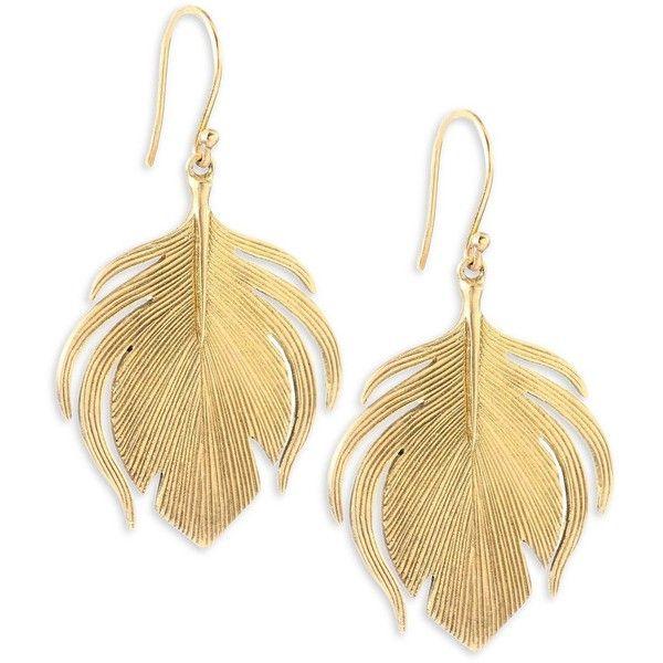 Annette Ferdinandsen Fauna 14k Yellow Gold Small Peacock Earrings 3 380 Brl Liked On Poly 14k Yellow Gold Earrings Peacock Jewelry Peacock Feather Earrings