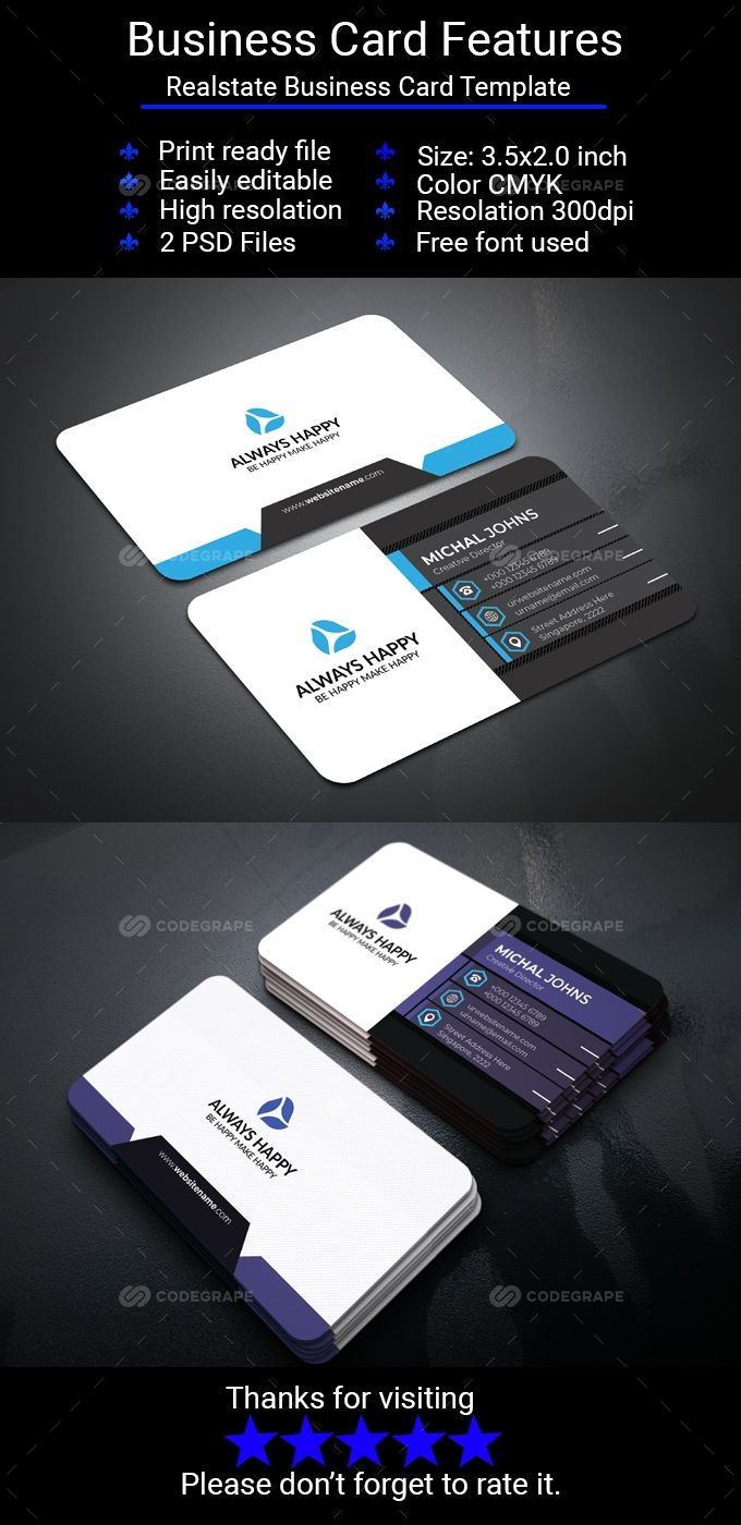 Realstate Business Card Business Cards Photography Business Cards Template Double Sided Business Cards