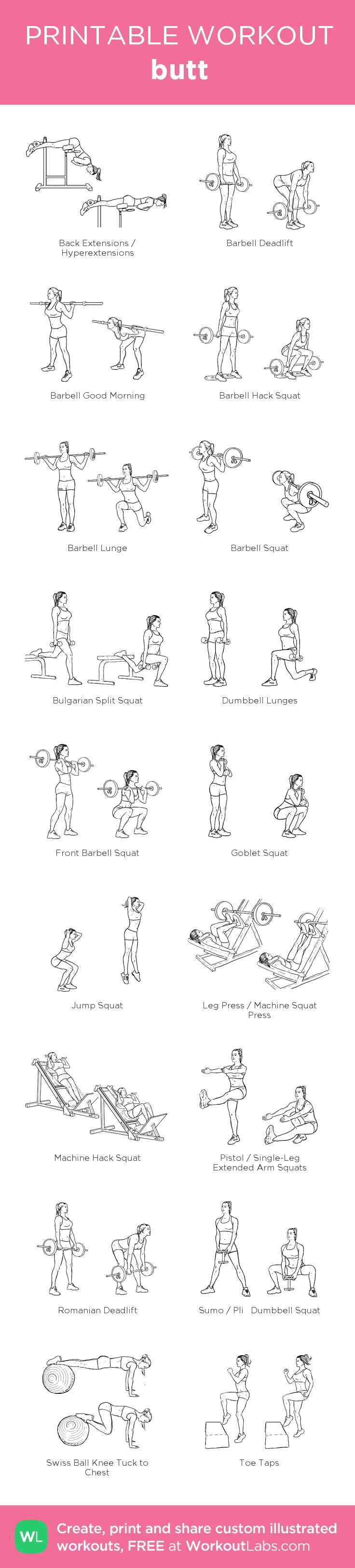 butt:my visual workout created at WorkoutLabs.com • Click through to customize and download as a FREE PDF! #customworkout