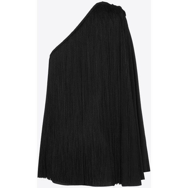 One-Shoulder Fringed Cape Dress in Black Satin ($3,370) ❤ liked on Polyvore featuring dresses, satin dress, one sleeve dress, side zip dress, fringe cocktail dresses and satin cocktail dress