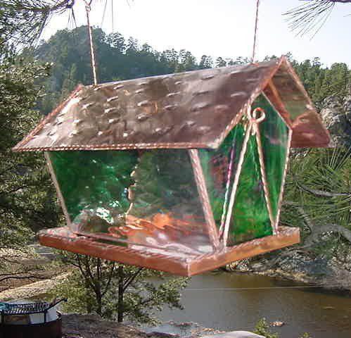 Stained Glass Bird Feeder-Emerald