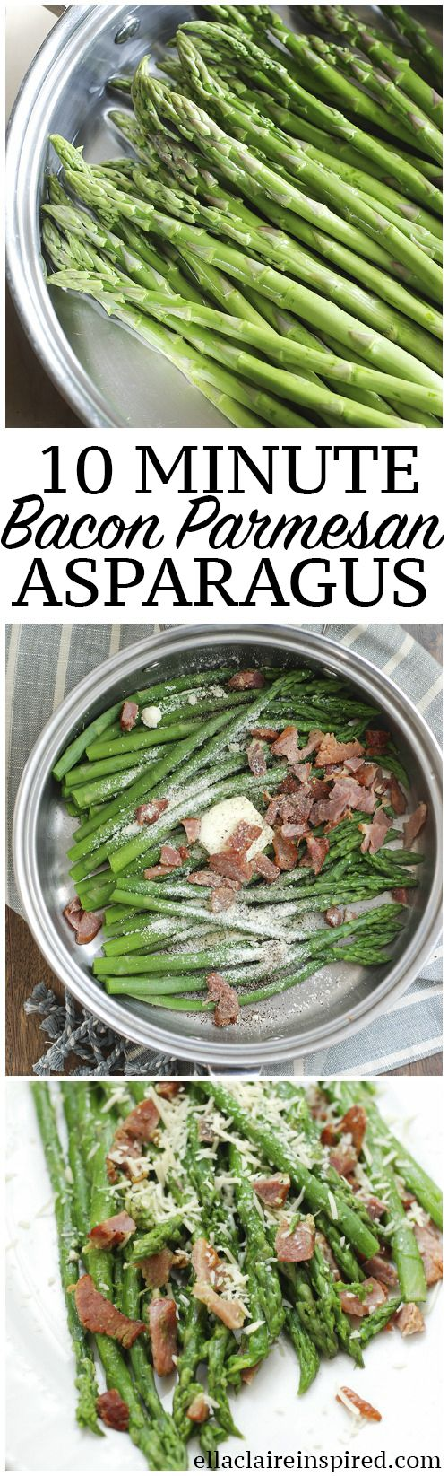 No more mushy flavorless asparagus! This easy 10 minute bacon and parmesan asparagus is so delicious! A total crowd pleaser