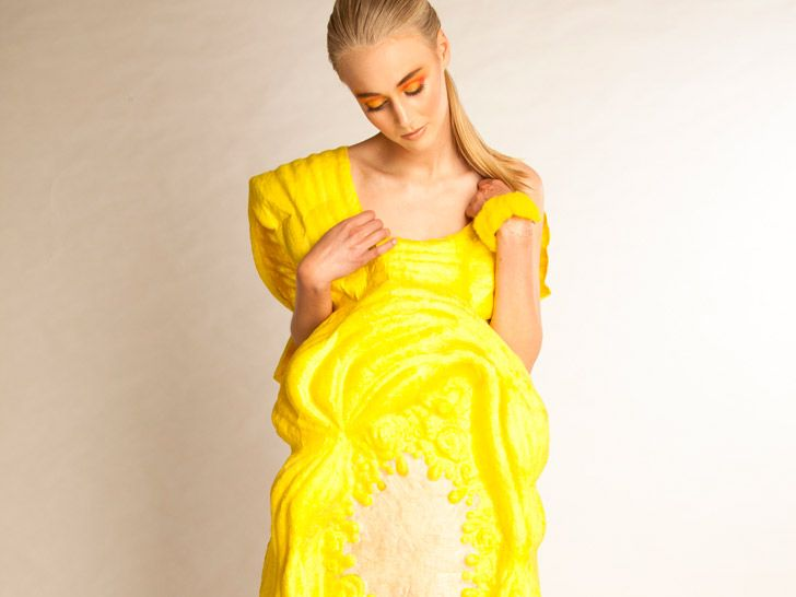 """After researching the spray-on fabric Fabrican, Murray invented her own """"low-tech"""" version by binding fibers to a liquid base. http://www.ecouterre.com/new-zealand-designer-samantha-murray-turns-fruit-scented-liquids-into-couture/samantha-murray-sweet-suspension-2/?extend=1"""