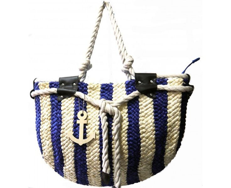 Blue Striped Straw Bag with Anchor Pendant - The Handbag Hut