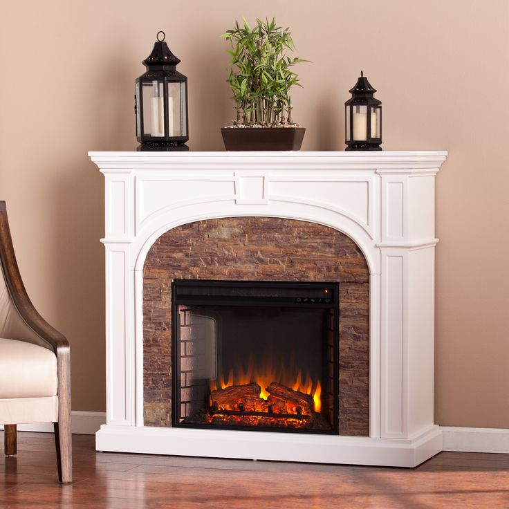 Harper blvd kelley white stacked stone effect electric for Faux marble fireplace mantels