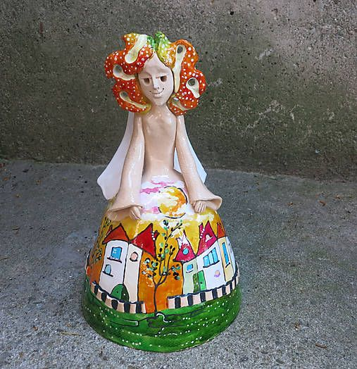 e-keramika / maľovaný anjelik -leto - zvonec