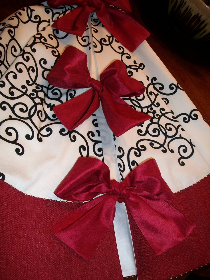 Anthropologie Inspired Stunning Holiday Red , White and Black Christmas Tree Skirt 2012 Collection. $150.00, via Etsy.