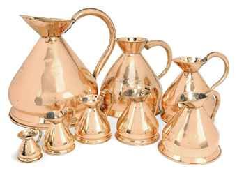 EIGHT VICTORIAN GRADUATED COPPER WINE-MEASURES  LATE 19TH CENTURY AND LATER  Price realised  GBP 1,000