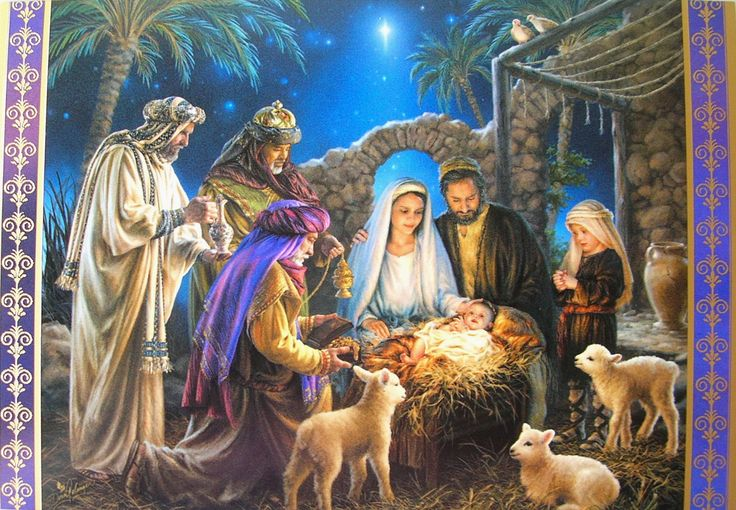 Nativity scenes christmas greeting card xmasblor Christmas card scenes to paint