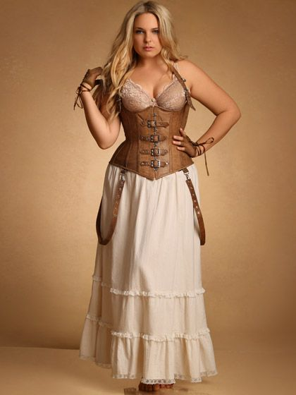 Steampunk Plus Size Clothing:Vintage Cotton Tiered Petticoat and Leather Corset $49.95  #steampunk #plussize
